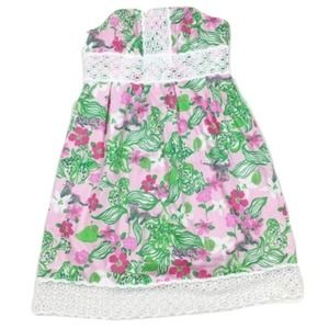 Lilly Pulitzer Pink & Green Strapless Sundress